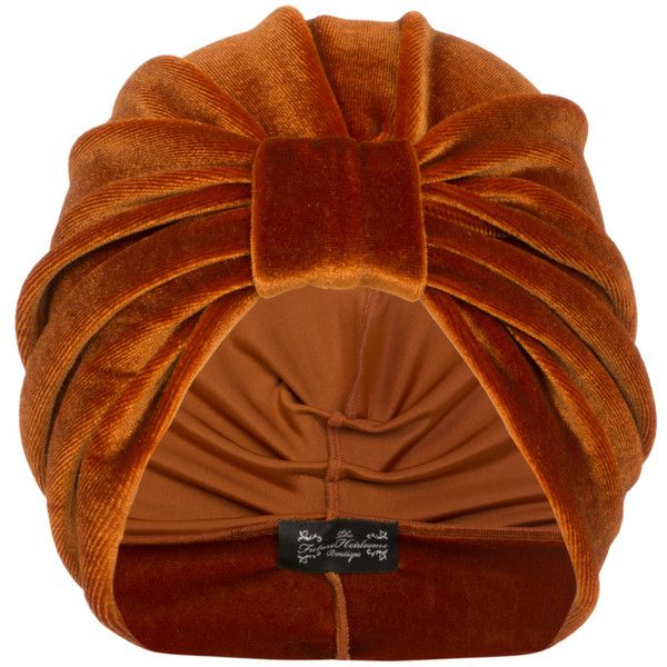 The Future Heirlooms Boutique Ava Velvet Turban in Orange ($37) ❤ liked on Polyvore featuring accessories, hats, turban, orange, velvet hat, velvet turban, turban hat and orange hat