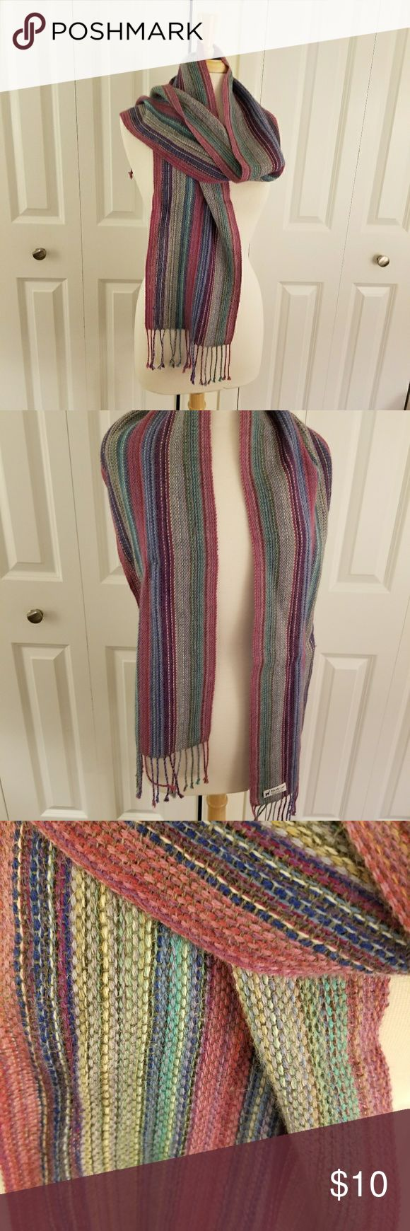 Striped Alpaca Scarf Bright, colorful woven alpaca scarf with fringe. noname Accessories Scarves & Wraps