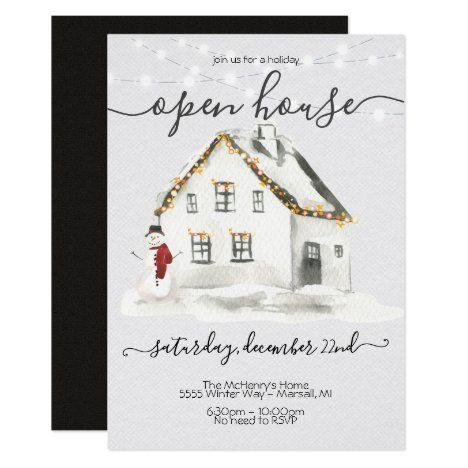 White House Christmas Open House 2020 White Snow farmhouse Christmas Open house Party Invitation in 2020