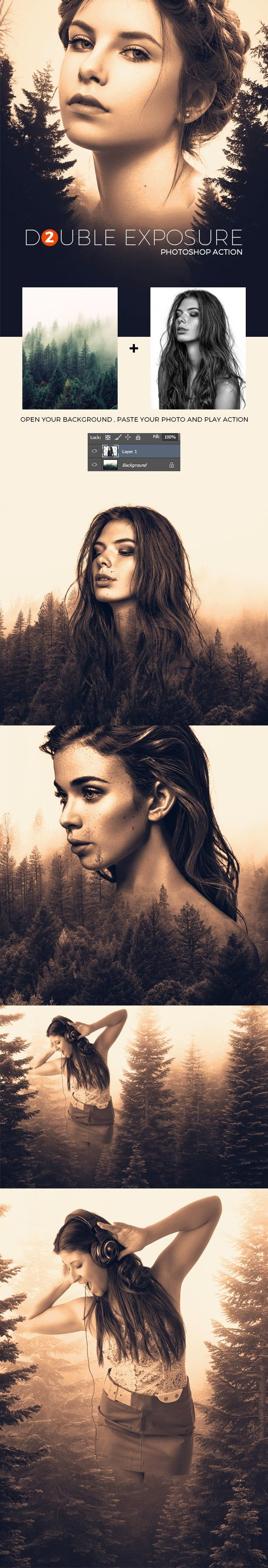 Add some depth to your images - Double Exposure 2 - Photoshop Action - Photo Effects Actions - design inspiration