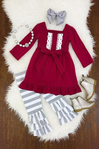 Burgandy and Gray Boutique Outfit  dcb6b50cb