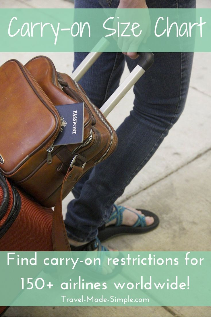 This carry-on size chart provides the sizes allowed by more than 150 airlines worldwide, plus other restrictions such as number of items and weight allowed.