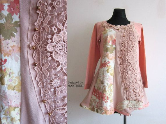 Peach Tunic Dress Extravagant Dress Upcycled Clothing by MARTINELI
