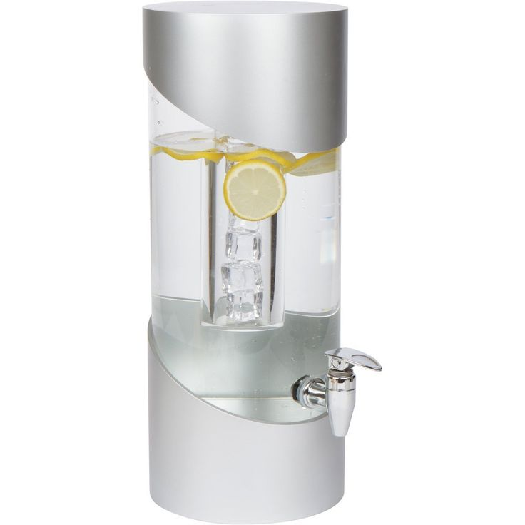 SF - Large 2 Gallon Modern Acrylic Beverage Dispenser with Ice Core and Chrome Plated Spigot