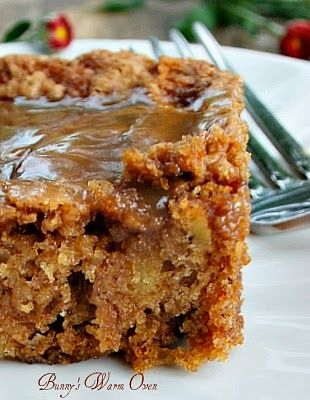 Mom's Best Apple Cake Recipe ~ Says: There are lots of apples in this cake, it's soft and moist. There's also a hot caramel sauce poured over the cake after it's baked that makes this outrageously delicious!