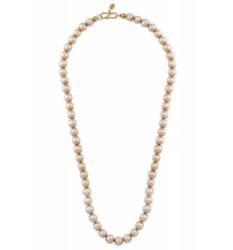 Silver Gold Plated Cap Pearl Necklace