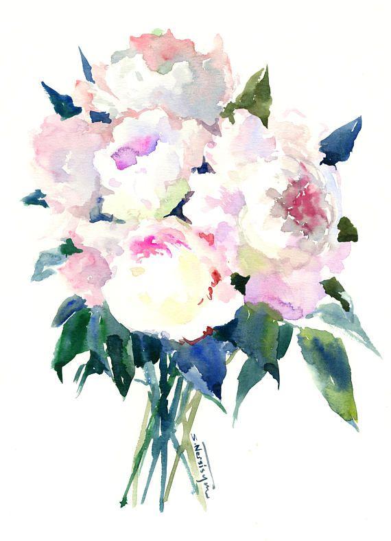 Pivoines Fleurs De Pivoine Rose Doux Aquarelle Florale Pivoine