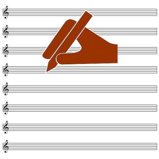 Pentagramma vuoto, bianco online per scrivere musica foglio A4