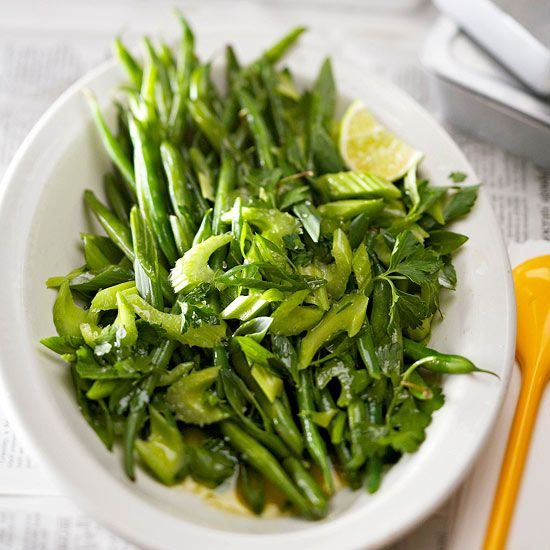 Lime juice gives this Green Bean Salad a refreshing tang. More side dishes: http://www.bhg.com/thanksgiving/recipes/thanksgiving-recipes/?socsrc=bhgpin122613greenbeansalad&page=19