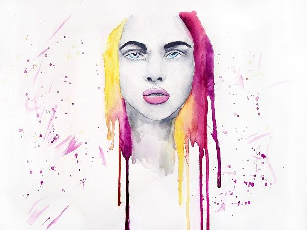 'Untitled' Portrait painting by Guinevere Saunders Artist Watercolor on 140lb Watercolor Paper 2014