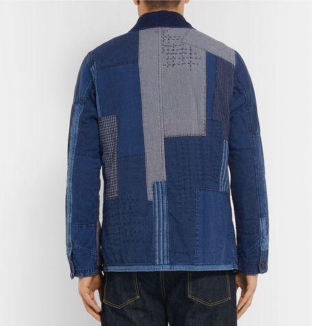 Indigo Patchwork Sashiko Dyed Jacket Japan Cotton Stitched Blue wqAZIZ