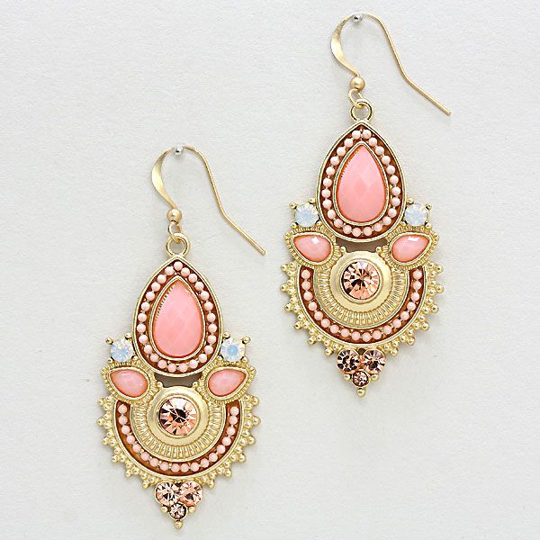 Athena Chandelier Earrings in Blush on Emma Stine Limited