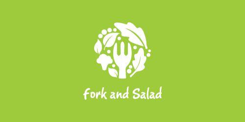 Puzzle pattern logo design: fork and salad