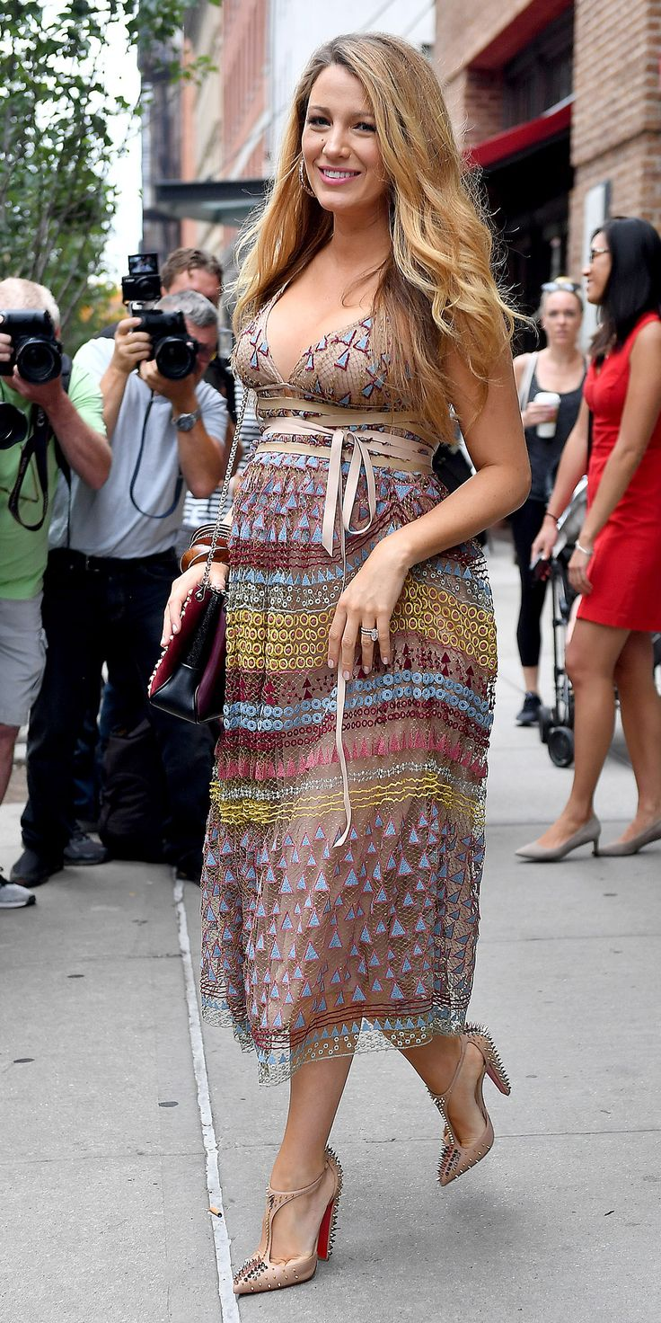 You'll Go Wild for Blake Lively's Latest Mixed-Print Maternity Style from InStyle.com