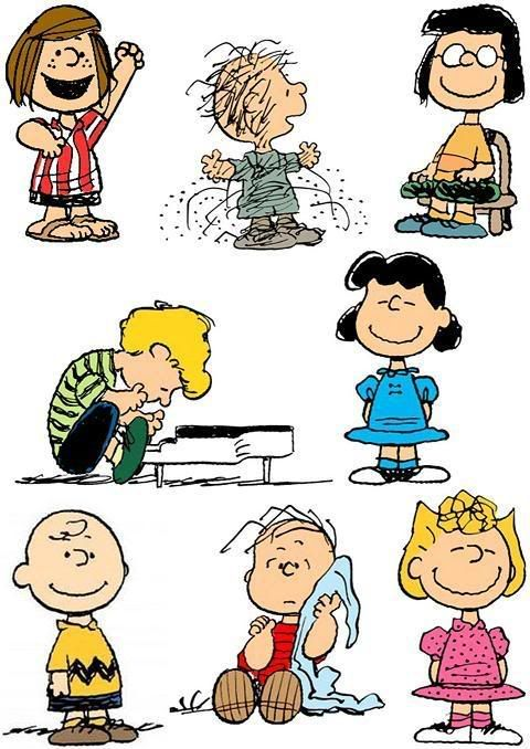 Peppermint Patty, Pig Pen, Marcy, Shroder, Lucy, Charlie Brown, Linus and Sally