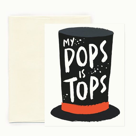My Pops is Tops Father's Day Greeting Card by IdlewildCo on Etsy