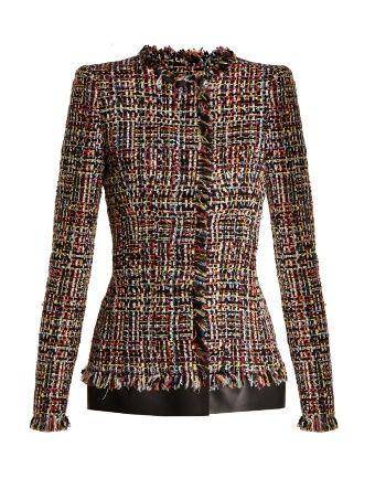 Frayed-edge collarless tweed jacket