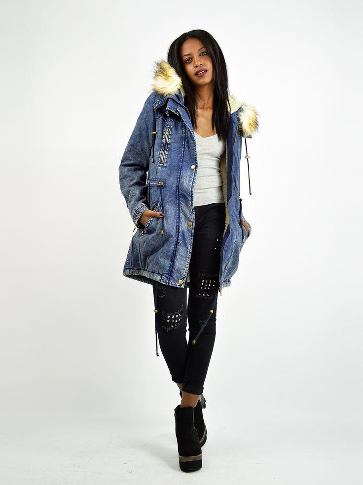 D3107 Μπουφάν Jean με Επένδυση Γούνας & Φερμουάρ - Decoro - Γυναικεία ρούχα, ανδρικά ρούχα, παπούτσια