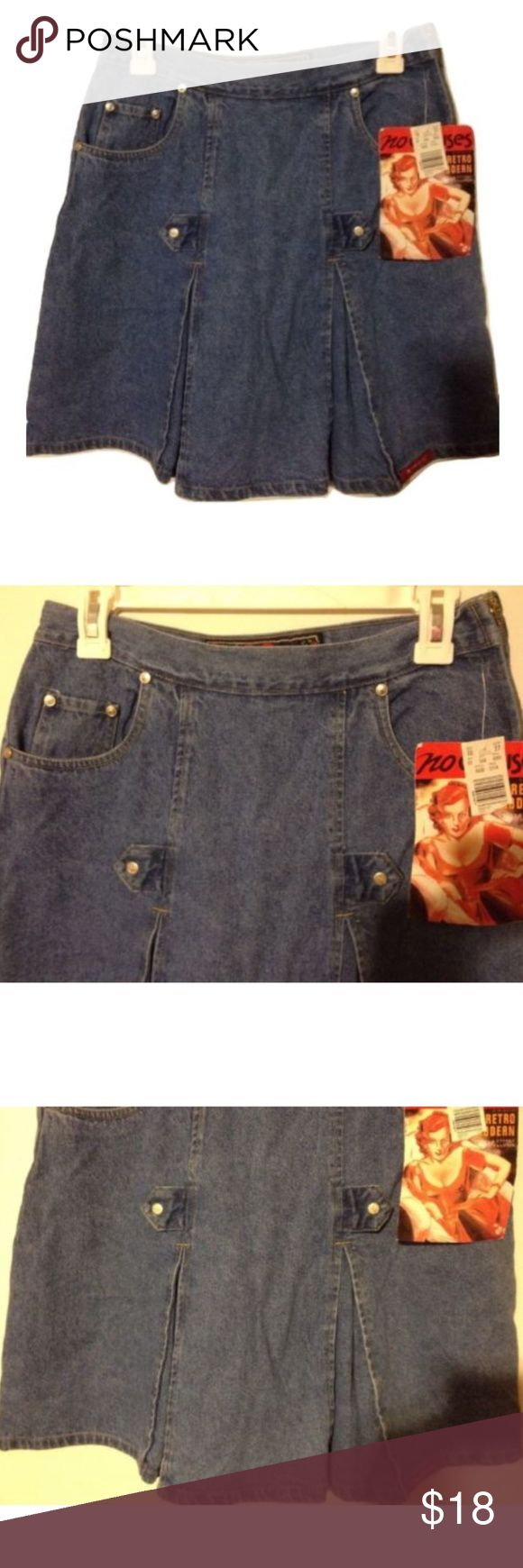 "NWT NO EXCUSES Denim Skirt Pleated 9/10 NWT NO EXCUSES Womens Skirt Denim Retro Modern 1990s Flare Pleated Sz 9/10 *Waist:  30"" or 76.2cm *Length:  18-1/2"" or 46.5cm This is a new with tags retro find from 1995!  NO EXCUSES Retro Modern Cause & Effect Fashion.  It's a great denim skirt that flares out and has two pleats in the front and a pleat in the back.  Two front pockets & a smaller change pocket tucked behind one of them. Skirts Midi"