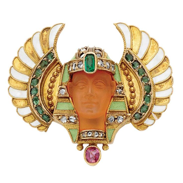 Egyptian Revival Gold, Carved Carnelian, Diamond and Enamel Pin: