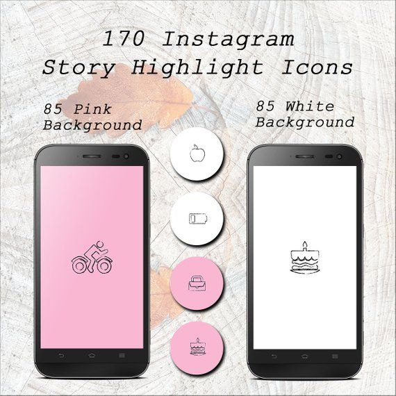 170 Instagram Story Highlight Icons, Hand-drawn Pink & White Instagram Story Icons Set, Instagram Story Template Graphic Bundle