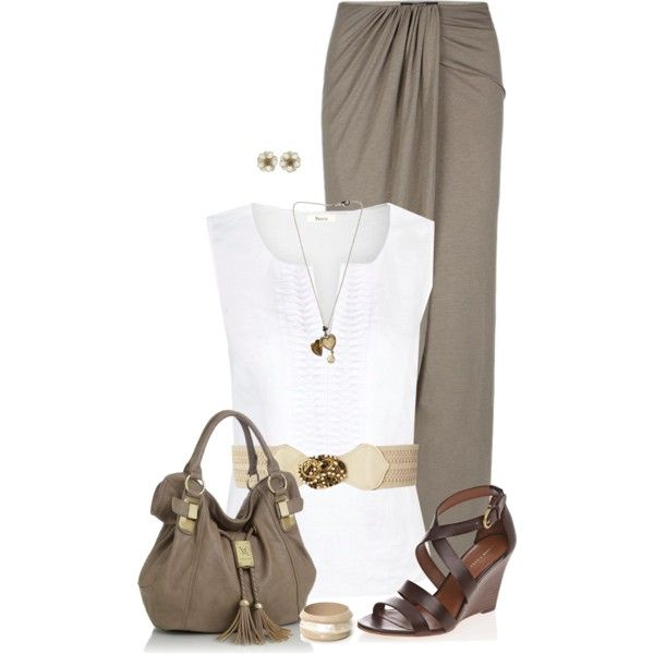 Maxi Skirt and White Top, created by daiscat on Polyvore