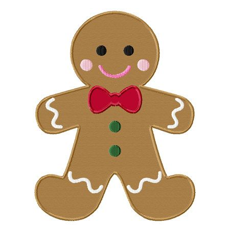 Christmas Gingerbread Man Applique Machine Embroidery ...