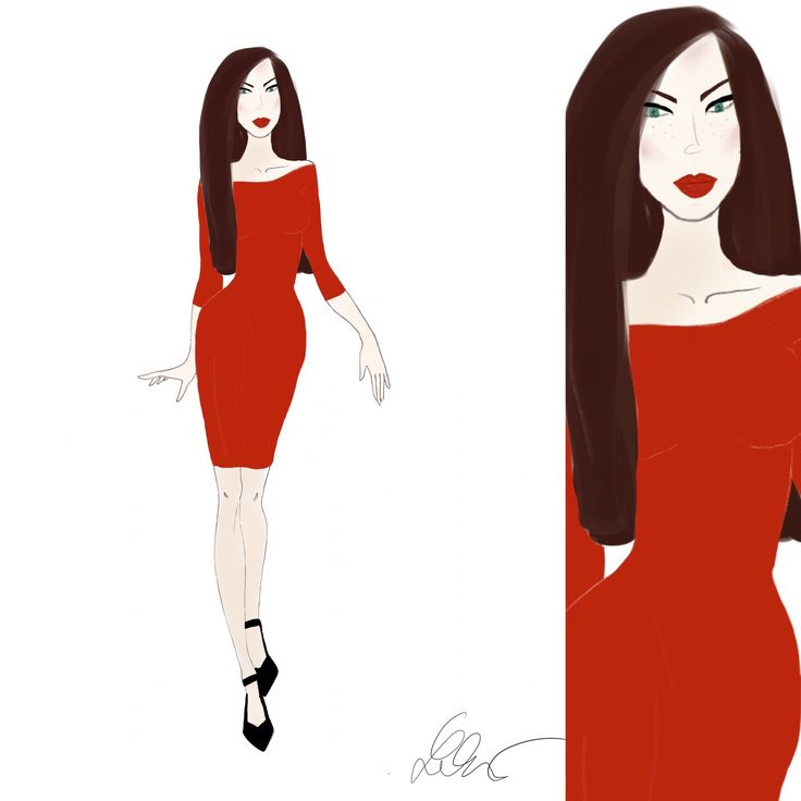 fashion sketch red dress style fashionsketches natalinkanonna illustration