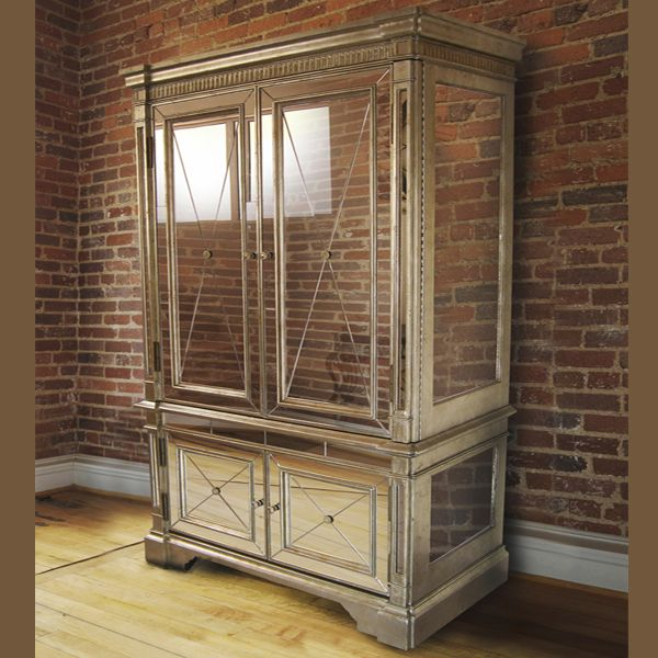 Mirrored Armoire: Antique Mirror Armoire TV Cabinet