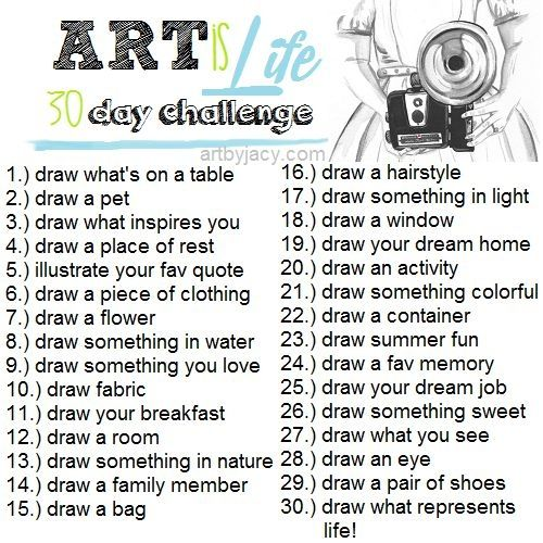 What a great idea this is. I wish I was creative enough to think these things up so thanks for this I shall start the 30 day drawing challenge/