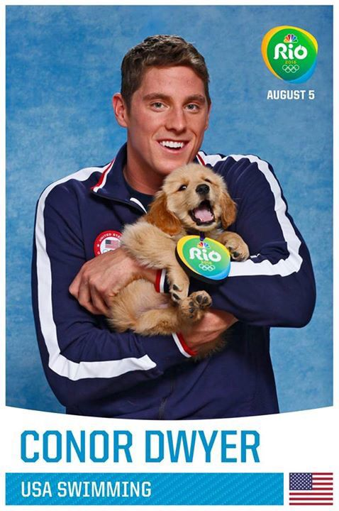 Conor Dwyer with an Olympic Rio puppy 2016. SO CUTE