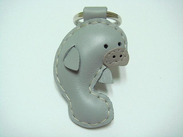 Leather Keychain - Layla the Manatee leather charm ( Grey ). $19.90, via Etsy.
