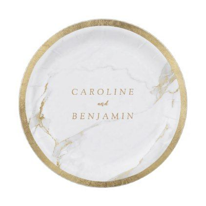 #Faux gold foil border marble luxury modern wedding paper plate - #wedding gifts #marriage love couples