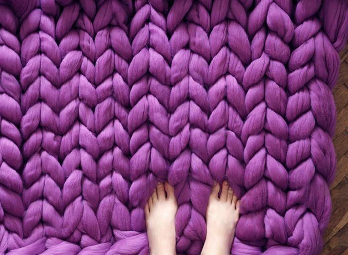 wolldecken gestrickter teppich lila