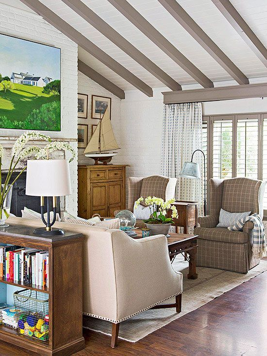 Vaulted Ceiling with Paneling and Exposed Beams