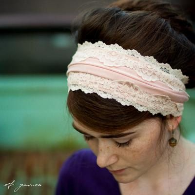 I adore this!  Vintage stretch and lace headband in Rose head by GarlandsOfGrace, $21.00