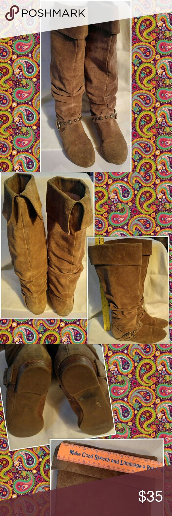 "Jessica Simpson BARG TALL BOOTS TAN BROWN SUEDE Jessica Simpson  BARG  TALL BOOTS  TAN BROWN SUEDE DUST SPLIT SUEDE Size 9 Approx 17"" TALL Gently used with lots of life left Jessica Simpson Shoes Over the Knee Boots"