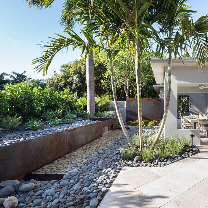 Modern Tropical Landscape Design, Water Feature, Corten