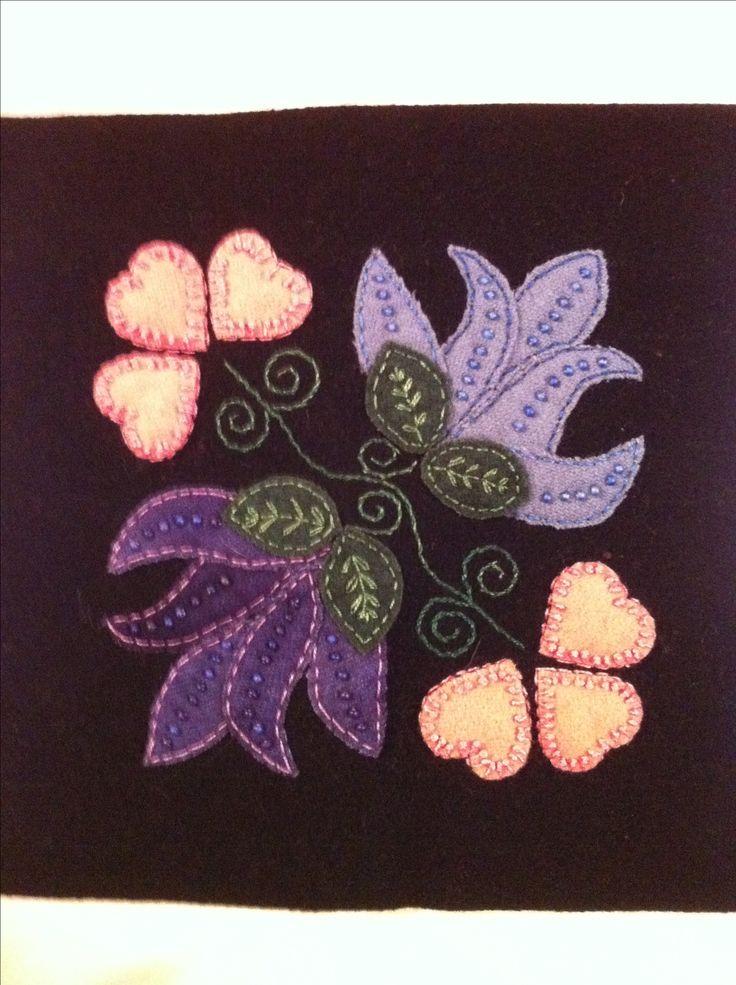 Wool hearts & flowers block 17 -- would be good regular applique