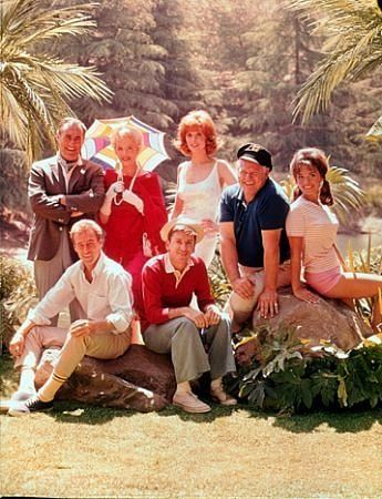Gilligan's Island aired 1964-1967  Jim Backus, Natalie Schafer, Tina Louise, Alan Hale Jr., Dawn Wells, Russell Johnson and Bob Denver!