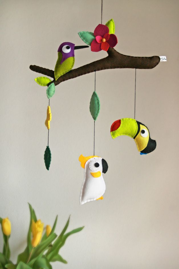 "Mobiles – Mobile ""Tropical Birds II"" – a unique product by stierkind on DaWanda"