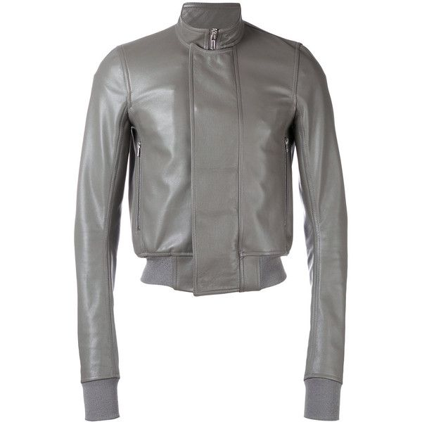 Rick Owens cropped bomber jacket (€2.345) ❤ liked on Polyvore featuring men's fashion, men's clothing, men's outerwear, men's jackets, grey, mens grey bomber jacket, mens gray leather jacket and mens grey jacket