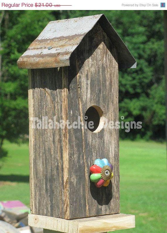 25% OFF SALE Primitive Birdhouses, Rustic Birdhouses, Tin Roof Birdhouses, Rusty Roof Birdhouses, Barnwood Birdhouses, Wood Birdhouses