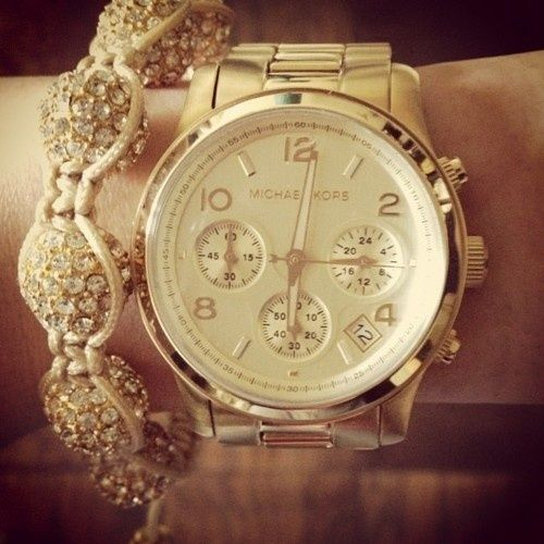 Michael Kors watch.: Bling, Arm Candy, Fashion, Bracelets, Beautiful, Michael Kors Watches, Gold Watches, Accessories, Men Watches