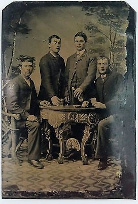 Tintype of River Boat Gamblers Playing Poker and Drinking Whiskey