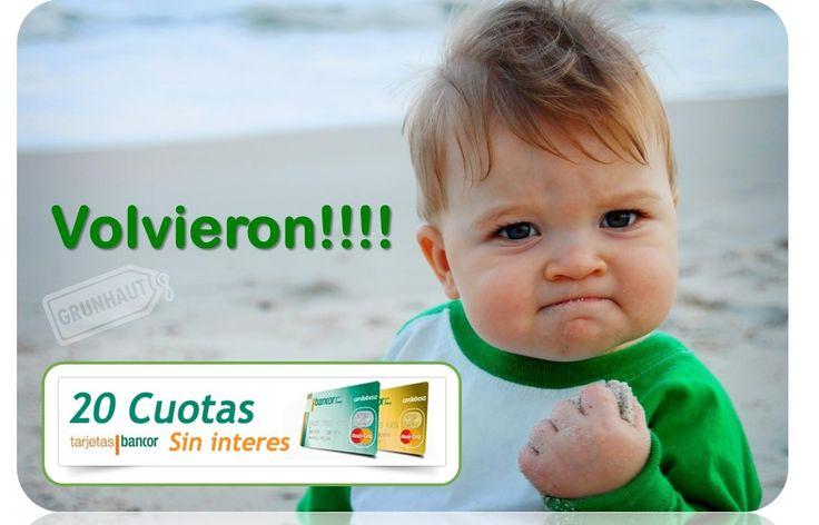 #BuenLunes Y #BuenasNoticias Porque vos lo pediste! A partir de hoy volvieron las 20 cuotas sin interés con las Tarjetas Bancor en todos nuestros productos! #Oportunidad www.grunhaut.com Tucumán 179 - (0351) 4238022 9 de Julio 424 - (0351) 4234946 Alvear 759 - (0351) 4229819 Hiper Construcción Rodriguez del Busto L.207 - (0351) 4778580 #Grunhaut - Ciudad de Córdoba