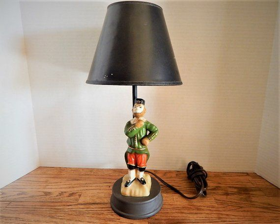 Monkey Lamp Desk Lighting British Soldier Figurine Hand Painted Porcelain 16 Electric Table Lamp Vintage 1960s Home Decor F Desk Light Vintage Table Lamp Lamp