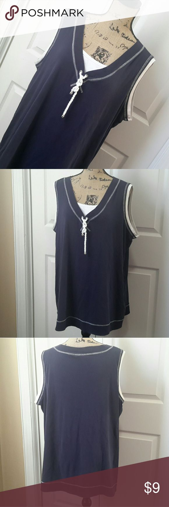 Just My Size Navy and White Tank Top Navy tank top trimmed in white with rope tie at neckline Slight discoloration  on white inset at neckline (see pic #5) cannot be seen when wearing Size 3X (22W/24W) Otherwise normal wash wear  Measurements in photos Just My Size Tops Tank Tops