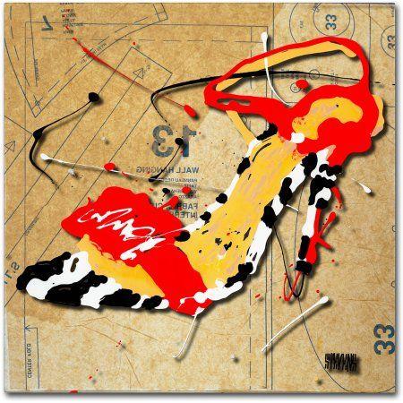 Trademark Fine Art Zebra Heel Red Canvas Art by Roderick Stevens, Size: 35 x 35, Multicolor