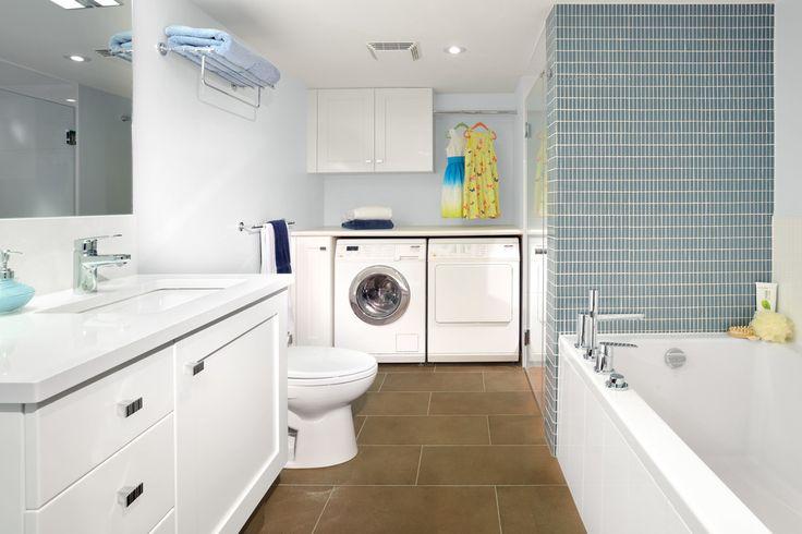 2014 modern bathroom and laundry interior combo